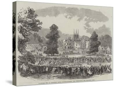 Volunteer Fete at Conington Castle, Huntingdonshire, the Hurdle-Race--Stretched Canvas Print