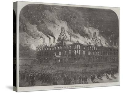 Destruction by Fire on the Queen Railway Hotel at Chester--Stretched Canvas Print