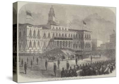 Arrival of the Body of President Lincoln at the City Hall, New York--Stretched Canvas Print