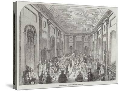 Grand Banquet in the Town-Hall, Liverpool--Stretched Canvas Print