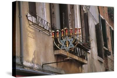 Low Angle View of a Jewish Symbol in a Ghetto, Venice, Veneto, Italy--Stretched Canvas Print