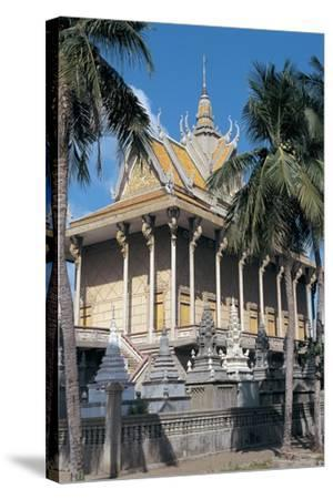 Low Angle View of a Pagoda, Wat Lang Ka, Phnom Penh, Cambodia--Stretched Canvas Print
