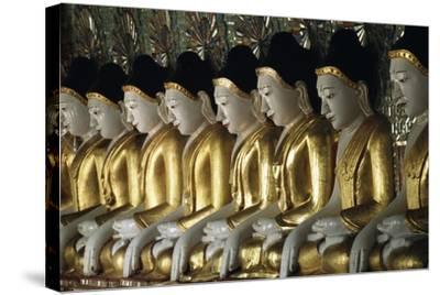Statues of Buddha, U Min Thone Sae Pagoda, Mandalay, Myanmar (Burma)--Stretched Canvas Print