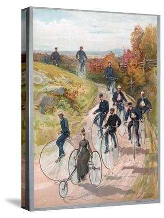 Group Riding Penny-Farthing Bicycles, 1887--Stretched Canvas Print
