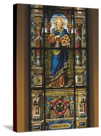 Stained Glass Window of St. Peter, Stockholm, Sweden--Stretched Canvas Print