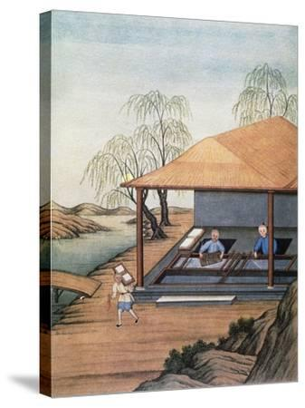 Old Paper Mill, Colour Print, China, 18th Century--Stretched Canvas Print
