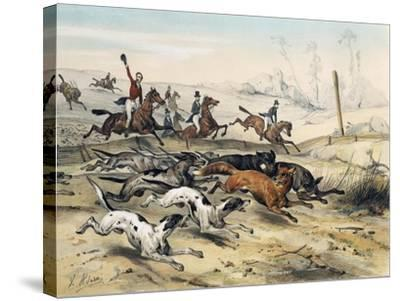 Fox Hunting, by Jean Victor Adam (1801-1866)--Stretched Canvas Print