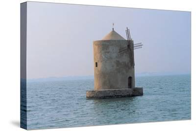 Windmill in the Sea, Orbetello Lagoon, Tuscany, Italy--Stretched Canvas Print