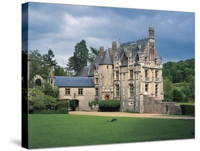 Lawn in Front of a Castle, Cleres, Normandy, France--Stretched Canvas Print