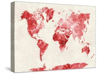 World Map in Watercolor Red-paulrommer-Stretched Canvas Print