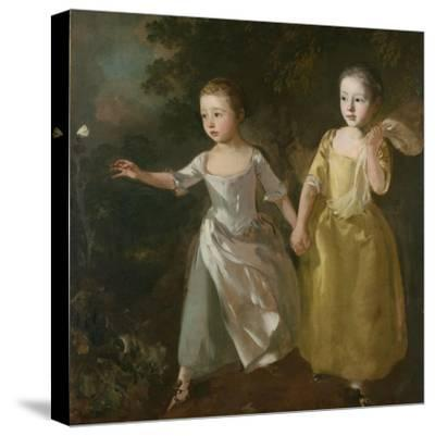 The Painter's Daughters Chasing a Butterfly, C.1759-Thomas Gainsborough-Stretched Canvas Print
