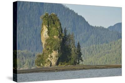 The New Eddystone Rock Formation, Off of a Forested, Mountainous Coast-Jonathan Kingston-Stretched Canvas Print