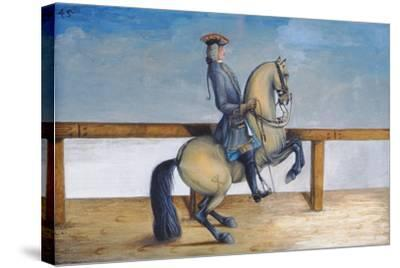 No. 45 a Horse of the Spanish Riding School Performing a Dressage Movement Called the 'Courbette'-Baron Reis d' Eisenberg-Stretched Canvas Print
