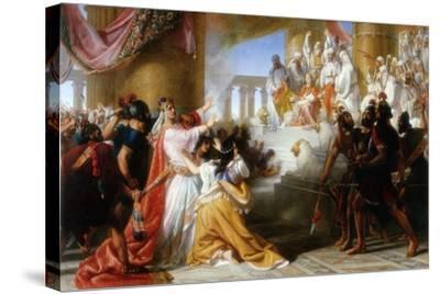 Athaliah's Dismay at the Coronation of Joash, C.1858-Solomon Alexander Hart-Stretched Canvas Print