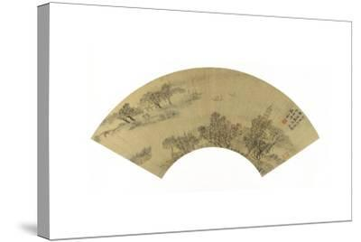 Landscape with Pagoda, Houses and Boats, 1625-Sheng Maoye-Stretched Canvas Print