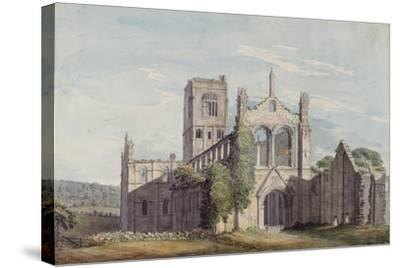 North West View of Kirkstall Abbey, 1777-Moses Griffiths-Stretched Canvas Print