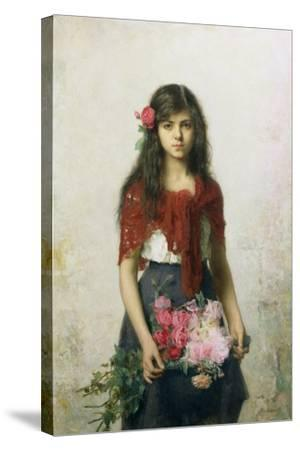 The Flower Seller-Alexei Alexevich Harlamoff-Stretched Canvas Print