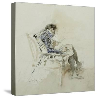 Gentleman Seated in an Armchair Reading a Book and Smoking a Pipe-Giovanni Boldini-Stretched Canvas Print