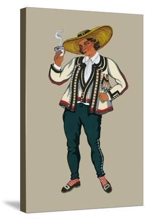 Rich Breton Drinks Hot Tea-Elizabeth Whitney Moffat-Stretched Canvas Print