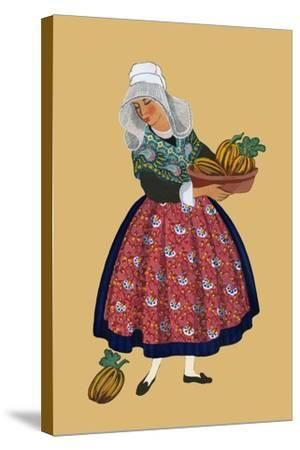 A Young Girl from Champagne Carries Gourds-Elizabeth Whitney Moffat-Stretched Canvas Print
