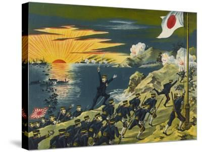 Japanese Land at Liaodong Peninsula, Russians Flee--Stretched Canvas Print