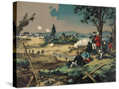 Japanese General Observes Battle with British Commanders--Stretched Canvas Print