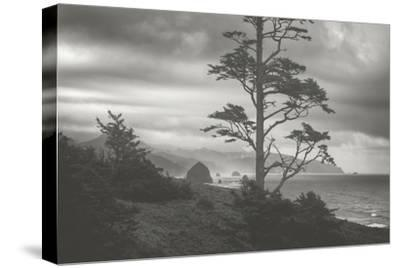 Moody Cannon Beach, Black and White, Oregon Coast-Vincent James-Stretched Canvas Print