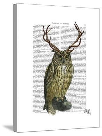 Owl with Antlers plain-Fab Funky-Stretched Canvas Print