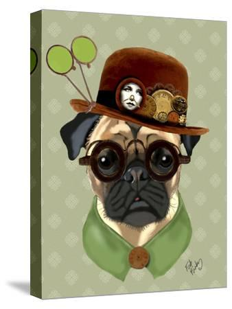 Pug with Steampunk Bowler Hat-Fab Funky-Stretched Canvas Print