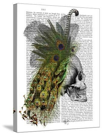 Skull With Feather Headress-Fab Funky-Stretched Canvas Print