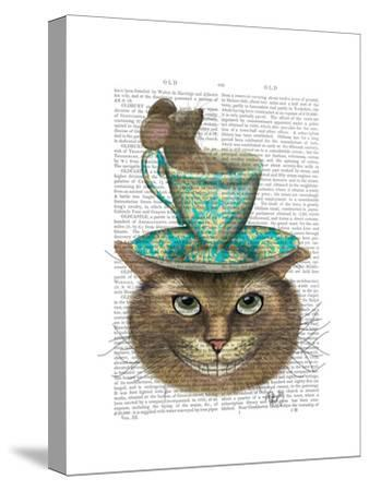 Cheshire Cat with Cup on Head-Fab Funky-Stretched Canvas Print