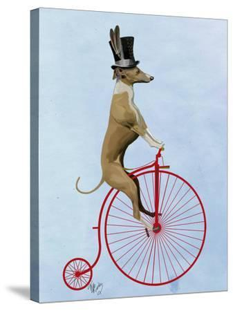 Greyhound on Red Penny Farthing-Fab Funky-Stretched Canvas Print