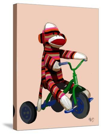 Sock Monkey Tricycle-Fab Funky-Stretched Canvas Print
