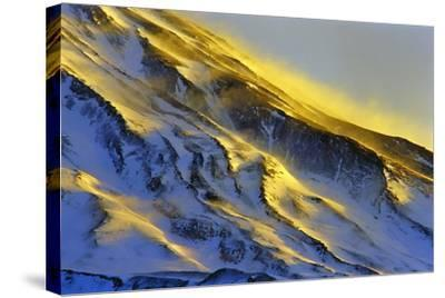 The First Rays of Sunrise Shine on Snow-Covered Slopes of Mount Damavand-Babak Tafreshi-Stretched Canvas Print