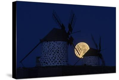 The Full Moon, a Wolf Moon, First Full Moon after the Winter Solstice, at Dawn Behind Windmills-Babak Tafreshi-Stretched Canvas Print