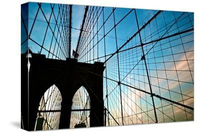 A View of the Brooklyn Bridge Through Cables-Kike Calvo-Stretched Canvas Print