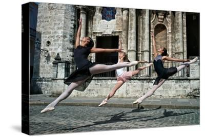 Ballerinas from the National Ballet of Cuba Dance on the Streets of Havana-Kike Calvo-Stretched Canvas Print