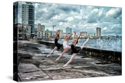 Ballerinas from the National Ballet of Cuba Dance on Havana's Malecon-Kike Calvo-Stretched Canvas Print