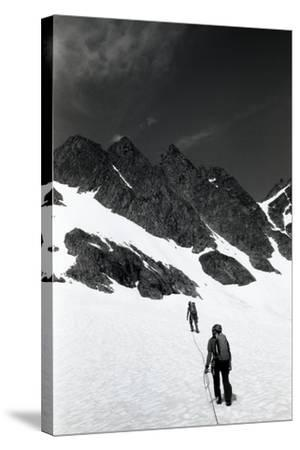 Climbers Ascending a Glacier on a Mountain Near Rogers Pass-Michael Hanson-Stretched Canvas Print