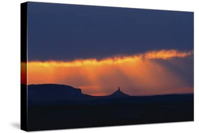 A Thunderstorm Rolls in over Chimney Rock-Michael Forsberg-Stretched Canvas Print