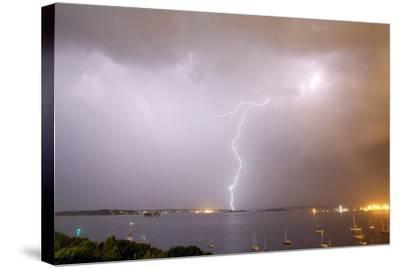 Lightning Strikes over Casco Bay-Robbie George-Stretched Canvas Print