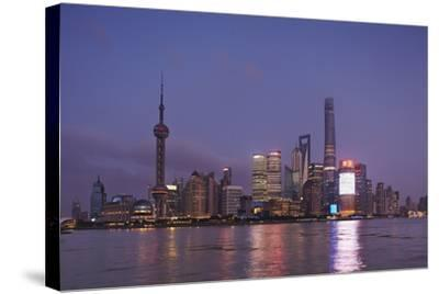 The Towers of Pudong District across the Huangpu River from the Bund, Shanghai, China-Nigel Hicks-Stretched Canvas Print