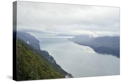 A View from Mount Roberts of Low Clouds Hover over Gastineau Channel-Jonathan Kingston-Stretched Canvas Print