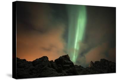 An Aurora Borealis and the Big Dipper Constellation Above a Mountain Peak-Sergio Pitamitz-Stretched Canvas Print