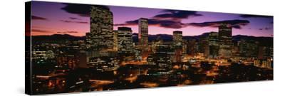 Denver, Colorado Skyline at Dusk--Stretched Canvas Print