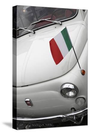 Italian Flag on Fiat 500 Car, Rome, Lazio, Italy, Europe-Stuart Black-Stretched Canvas Print