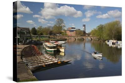 Boats on the River Avon and the Royal Shakespeare Theatre-Stuart Black-Stretched Canvas Print