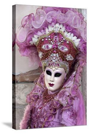 Lady in a Pink Dress and Bejewelled Hat, Venice Carnival, Venice, Veneto, Italy, Europe-James Emmerson-Stretched Canvas Print