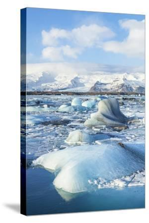Mountains Behind the Icebergs Locked in the Frozen Water of Jokulsarlon Iceberg Lagoon-Neale Clark-Stretched Canvas Print