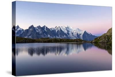 Mont Blanc Reflected During Twilight in Lac Des Cheserys, Haute Savoie, French Alps, France-Roberto Moiola-Stretched Canvas Print